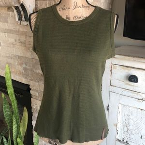 REI waffle knit olive green tank top outdoor